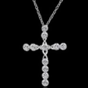 - ❤️Crystal cross pendant necklace sterling …